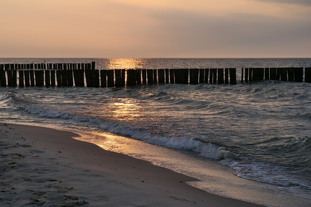 Beach, Sea, Waters, Sunset, Coast, Abendstimmung, Sand