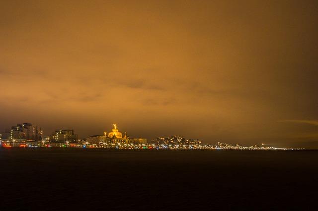 Scheveningen, Night, Yellow, Ocean, North Sea, Beach
