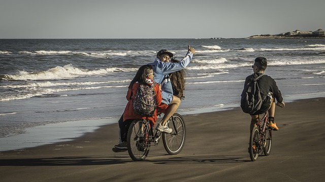 Young, Bicycles, Beach, Mar Del Plata, Sea