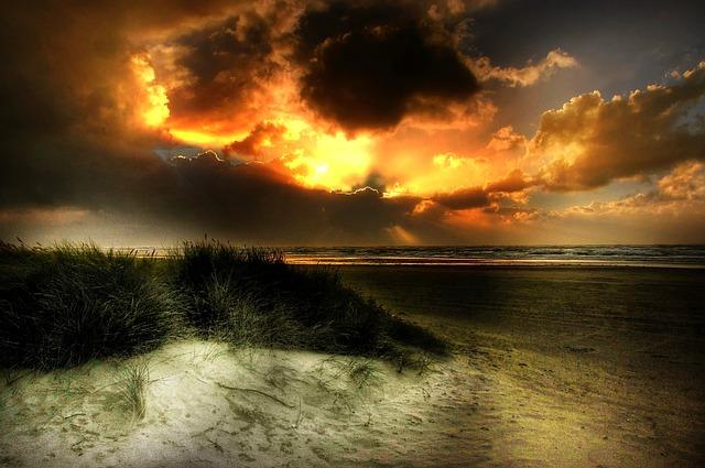 North Sea, Sun, Sea, Beach, Sunset, Water, Dunes