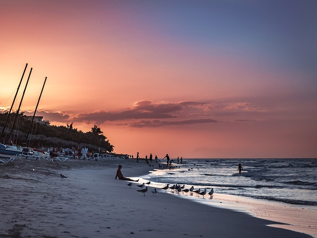 Sunset, Sea, Beach, Sunset Sea, Evening Sky