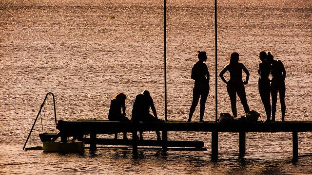 Shadows, People, Afternoon, Jetty, Beach, Silhouette