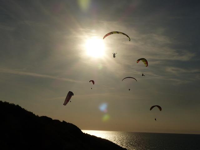 Paragliding, Wing, Sun, Sky, Ocean, Side, Beach