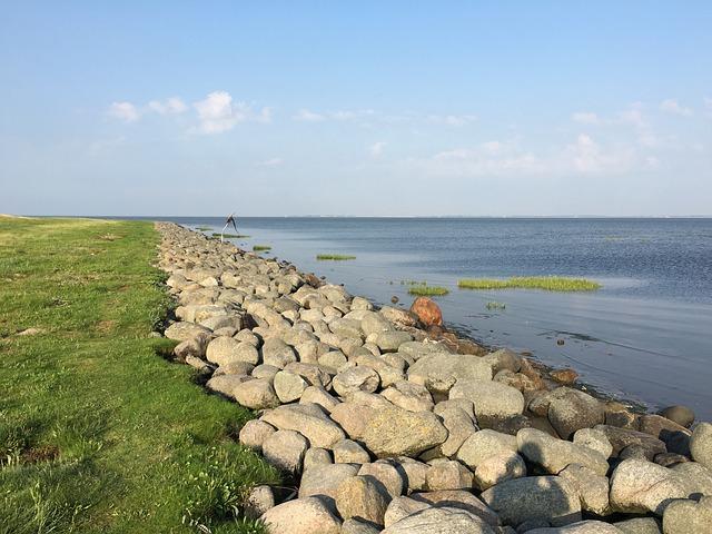 Beach, Romo, Stone, Grass, Water