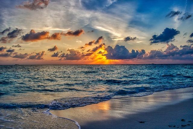 Beach, Ocean, Sunset, Landscape, Summer, Wave, Cloud