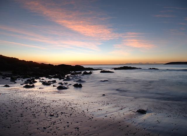 Beach, Low Light, Sunrise, Slow Shutter
