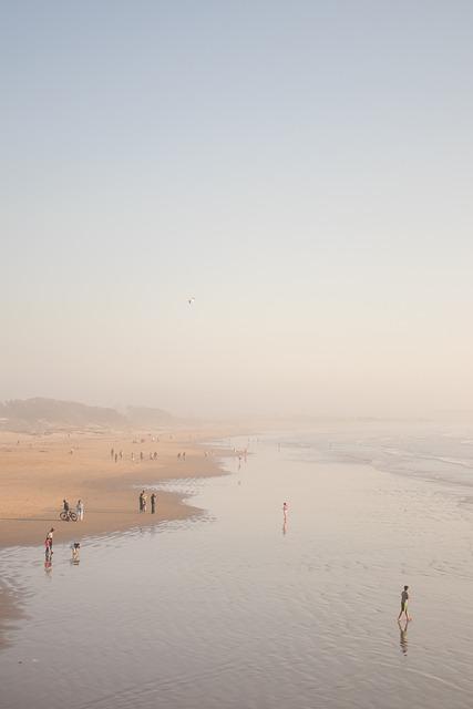 Beach, Water, Tide, Tidal, Sand, Sandy, Foggy