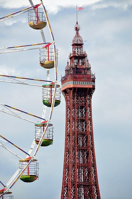 Blackpool, Tower, Beach, Ferris Wheel, Amusement, Rides