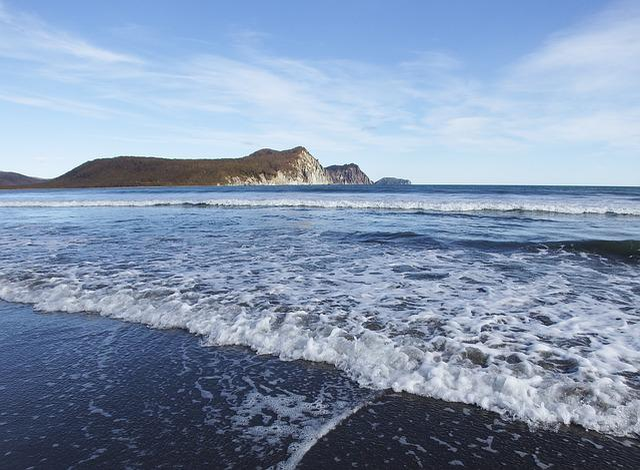 Sea, Bay, Beach, Coast, Mountains, Rocks, Volcano, Wave