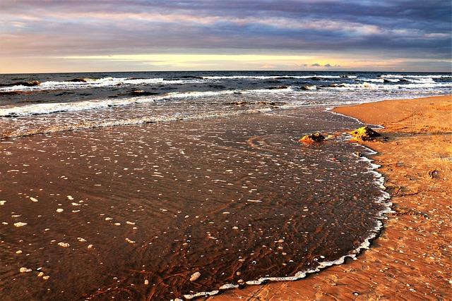 Sea, West, The Sun, Beach, Sand, Water, The Waves, Sky