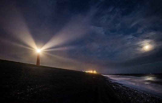 Lighthouse, Light, Sea, Beacon, Coast, Sky, Night