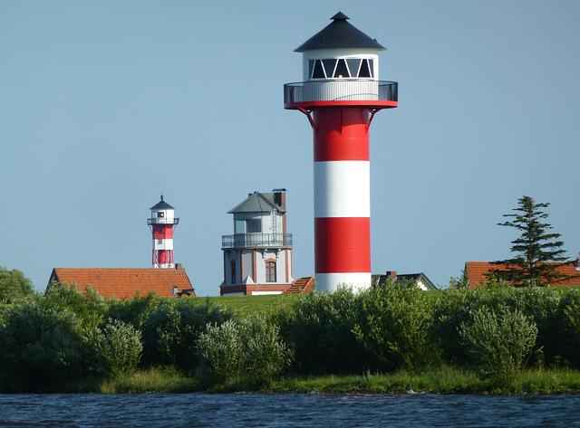 Lighthouse, Beacon, Navigation, Maritime, Elbe, Daymark
