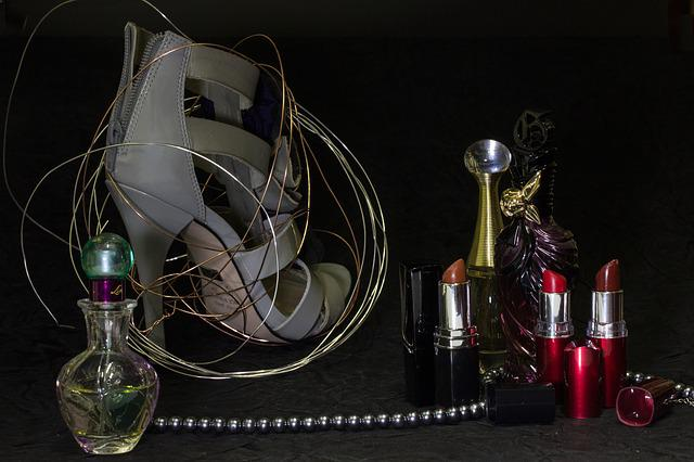 Still Life, Lipsticks, Perfumes, Beads, Shoe