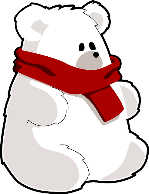 Polar Bear, Ice Bear, Bear, Scarf, Toy, Cold