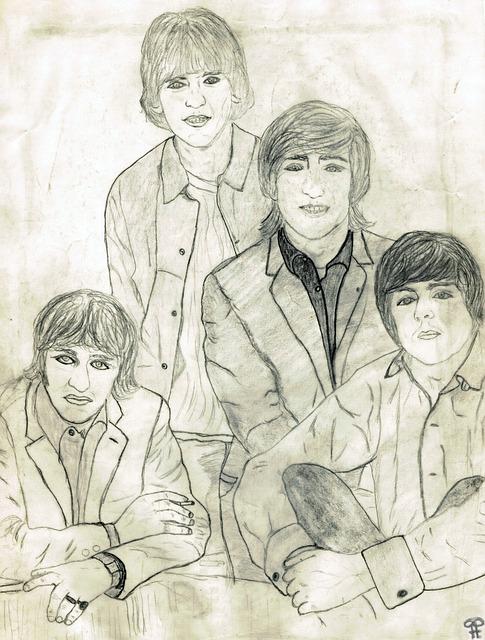 Beatles, Drawing, Pencil Drawing, Hand Drawn Sketch