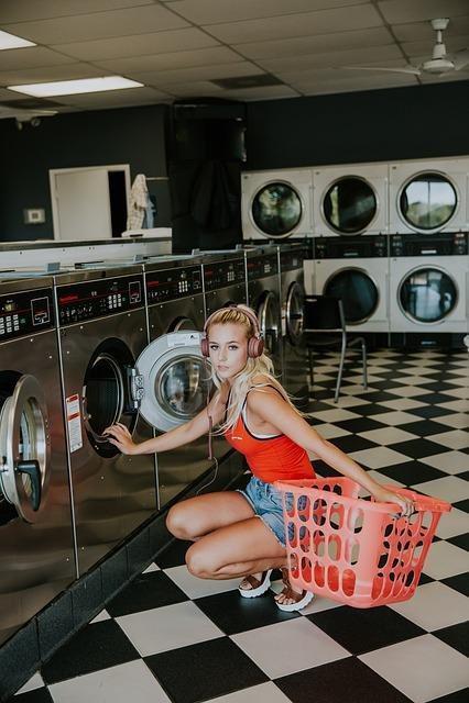 Beautiful, Headphones, Laundromat, Laundry Basket