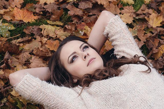 Woman, Beautiful, Girl, Lying, Leaves, Autumn, Portrait
