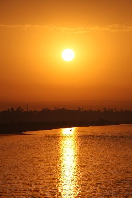 Egypt, Sunset, Nil, Sun, Beautiful, River, Orange Sun