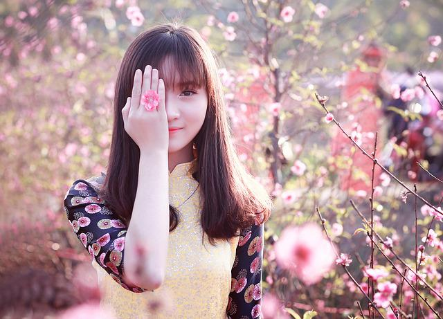 Nature, Beautiful, Girl, Outdoors, Flower, Portrait