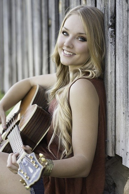Guitar, Beautiful, Smile, Music, Instrument, Girl