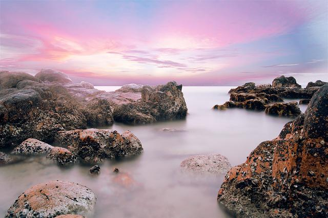 Beautiful, Beach, Vietnam, Water, Stones, Long Exposure