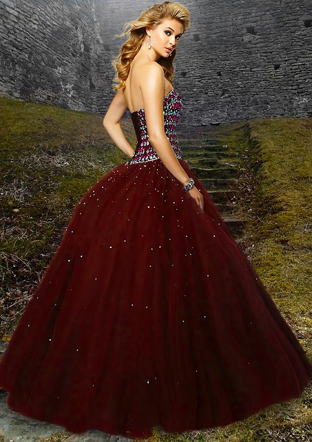 Woman, Beautiful, Red Gown, Blonde Hair, Vintage, Gown