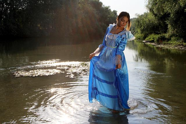 Girl, Princess, Lake, Water, Dress, Blue, Beauty