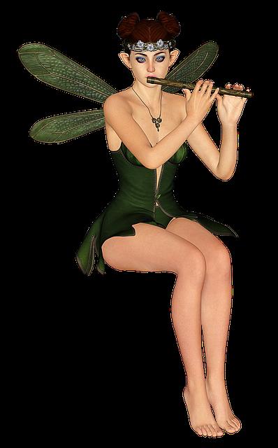 Fee, Elf, Flute, Wing, Fairy, Fae, Lamp, Woman, Beauty