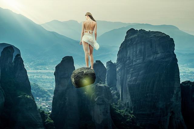 Woman, Girl, Female, Beauty, Flying, Rocks, Mountains