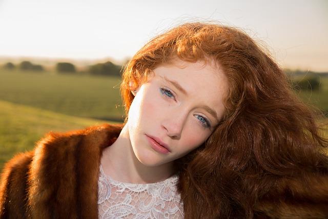 Girl, Red Hair, Blue Eyes, Sunrise, Beauty, Female