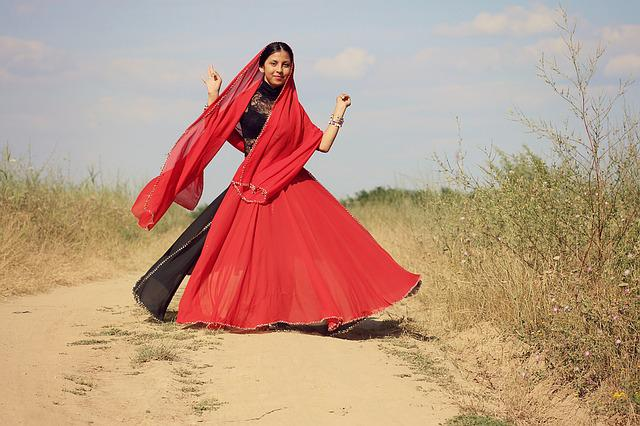 Girl, Indian, Dance, Red, Oriental, Motion, Beauty