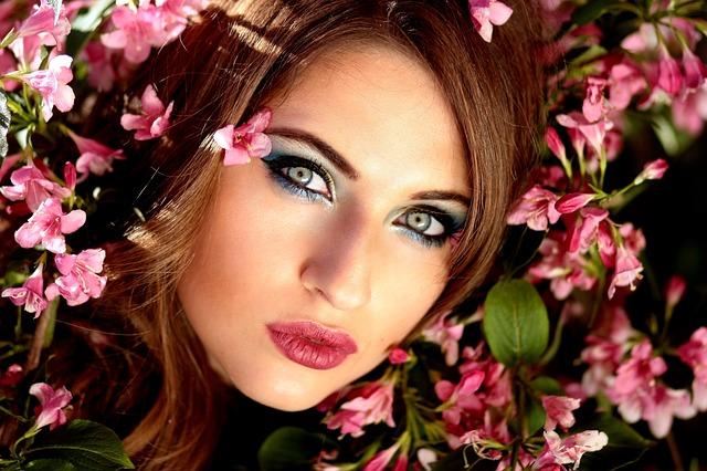Girl, Flowers, Pink, Blue Eyes, Beauty, Spring