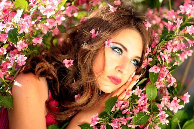 Girl, Blue Eyes, Flowers, Pink, Portrait, Casey, Beauty