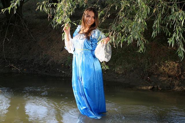 Girl, Princess, Lake, Water, Dress, Blue, Beauty