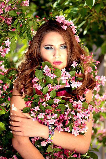 Girl, Flowers, Pink, Tree, Casey, Beauty, Spring
