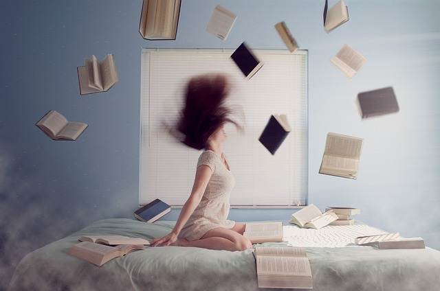 Woman, Studying, Learning, Books, Reading, Adult, Bed