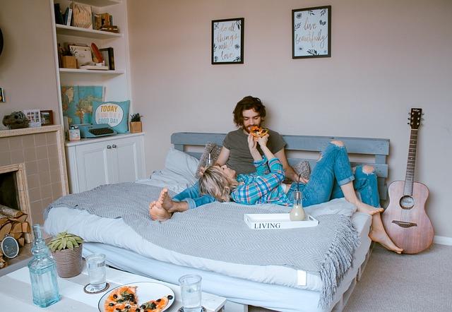 Room, Bed, Indoor, People, Couple, Man, Woman, Guitar