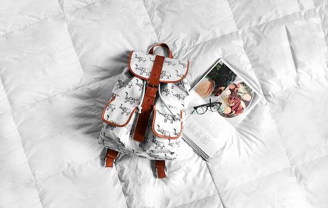 Backpack, Bed, Book, Eyeglasses, White