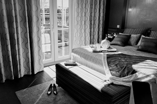 The Bed, Room, Bedroom, Black And White, Double Doors