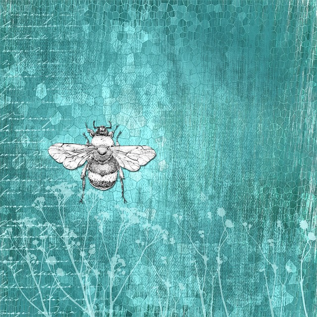 Background, Scrapbook, Vintage, Grunge, Bee, Blue