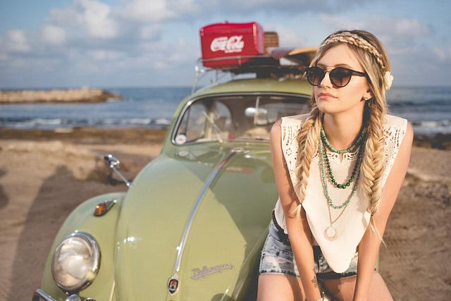 Beach, Beautiful, Beetle, Classic, Girl, Leisure, Ocean