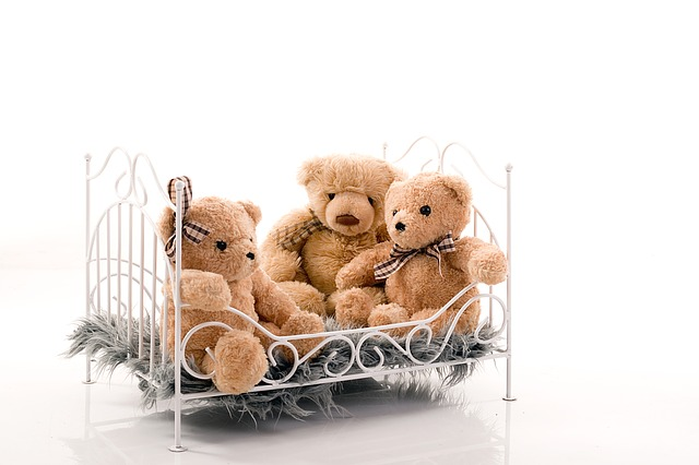 Bed, Crib, Bears, Beige, Family, They Sit