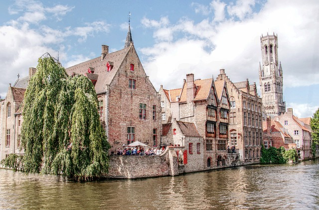 Belfry, Tower, Bruges, Canal, Channel, Romantic