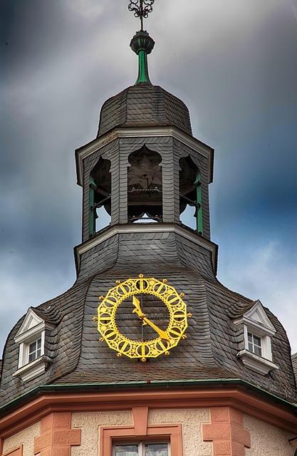 Clock, Golden, Tower, Slate, Bell, Time Of, Pointer