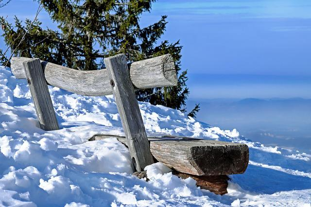 Bank, Bench, Wooden Bench, Snowy, Winter, Mountain