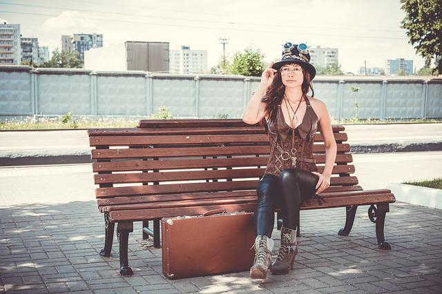 Steampunk, Peron, Bench, Parabank, Suitcase, Cosplay