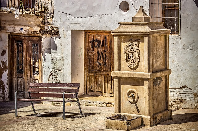Well, Bench, Break, Old, Architecture, House, Vintage