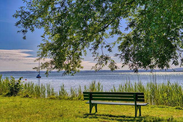 Bank, Bench, Lake, Waters, Chiemsee, Wooden Bench, Rest
