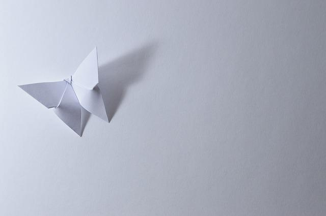 Origami, Butterfly, Leaf, Paper, Bent, White, Shadow