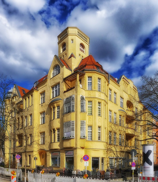 Berlin-friednau, Germany, Building, Sky, Clouds, City